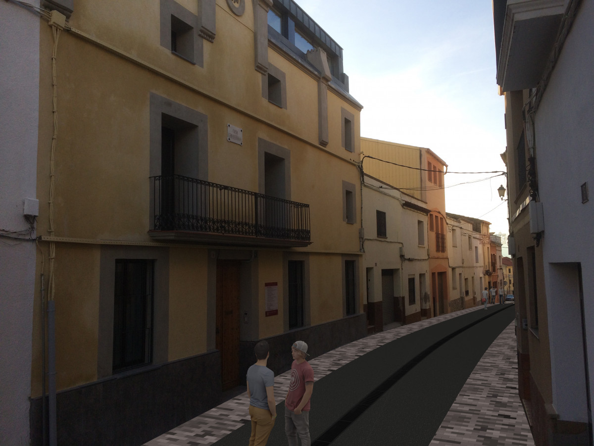 Plataforma única al carrer Major d'Abrera